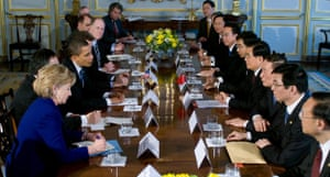 G20 summit: Barack Obama: Chinese President Hu Jintao and the Chinese delegation meet with Obama.