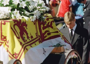 Prince William and Harry: Prince William walks behind the coffin of his mother Princess Diana