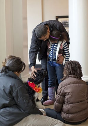 Presidential pets: The Obama family welcomes their new puppy dog Bo to the White House