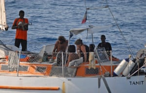 Tanit yacht hijack: Armed pirates and their hostages aboard the French yacht Tanit off Somalia.