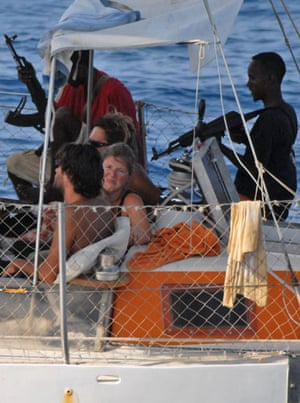 Tanit yacht hijack: Armed pirates and their hostages aboard the French yacht Tanit.