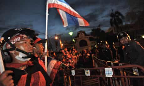 Thai supporters of exiled prime minister Thaksin Shinawatra protest in Bangkok