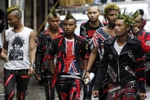 Burma water festival: Burmese youth dressed as punks attend the Water Festival in Rangoon.