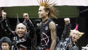 Burma water festival: Burmese youth dressed as punks at the Burma Water Festival.