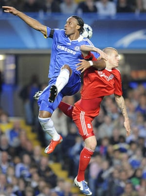 Chelsea v Liverpool: Didier Drogba and Martin Skrtel