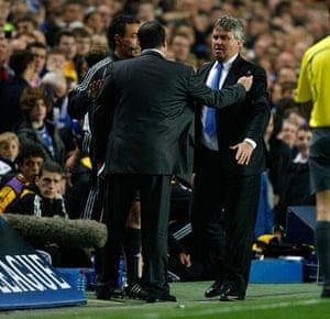 Chelsea v Liverpool: Guus Hiuddink and Rafa Benitez