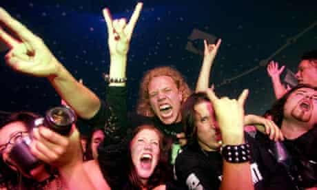 Rock fans at Tuska heavy metal festival in Helsinki