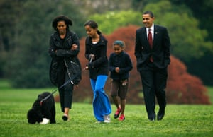 The Obama family dog Bo: The Obama family walk Bo on the South Lawn