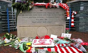 Floral tributes at the Hillsborough memorial in Sheffield.