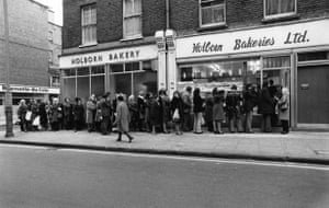 Three day week: A queue outside Holborn waiting for bread during the industrial dispute
