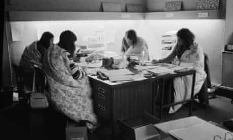 Four women working in an office in Bond Street, London during the power cuts of 1973-74