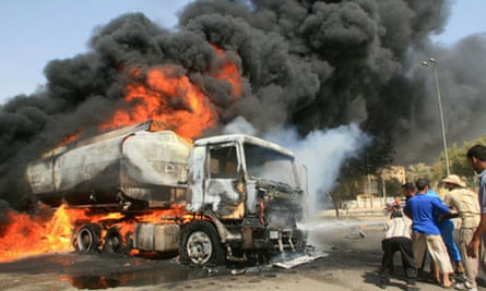 A fuel tanker on fire in Basra