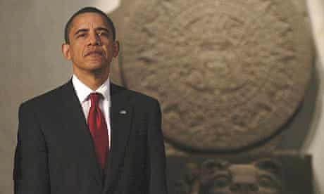 Barack Obama at an official dinner in the Anthropology Museum in Mexico City