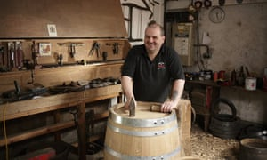 Master cooper Alastair Simms at work. Photograph: Sam Frost