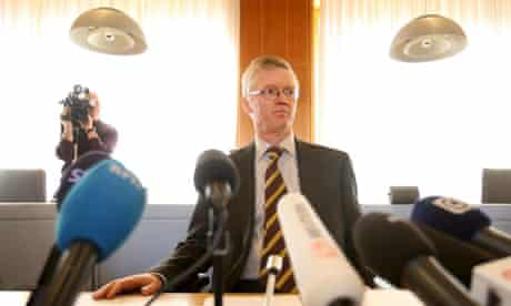Judge Tomas Norstrom comments on the Pirate Bay trial verdict. Photographer: Fredrik Persson/EPA