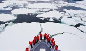 Cruise tourists in Antarctica