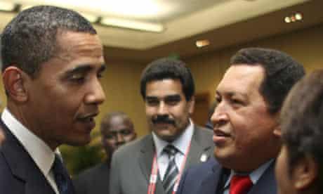 Barack Obama greets Hugo Chavez