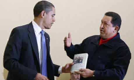 Chavez gives a book to Obama during the Summit of the Americas in Port of Spain