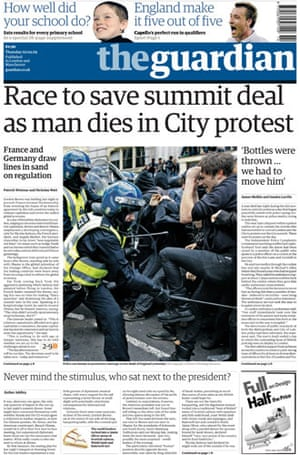 G20 front pages: The Guardian newspaper front page from 2 April 2009