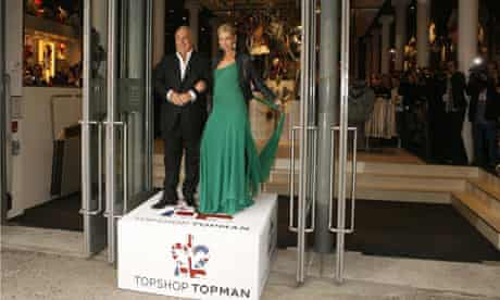 Kate Moss poses with Sir Philip Green at opening of Topshop and Topman in New York