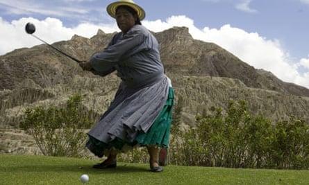 Marta Mamani, an Aymara indigenous woman, at La Paz Golf Club, Bolivia