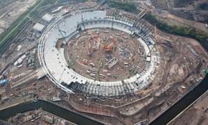 London 2012 Olympic Stadium under construction