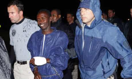Captured Somali pirate Abduhl Wali-i-Musi