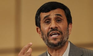 Iranian president Mahmoud Ahmadinejad at the UN conference on racism