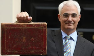 Chancellor of the Exchequer Alistair Darling holds Gladstone's old Budget box