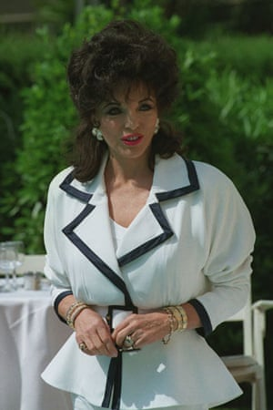 Joan Collins style icon: Joan Collins wearing a jacket with large shoulders in 1993