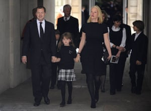 Clement Freud funeral: Matthew Freud and Elisabeth Murdoch leave the funeral of Clement Freud
