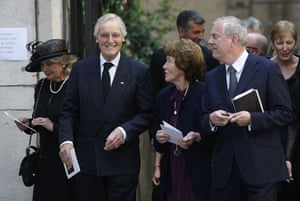 Clement Freud funeral: Nicholas Parsons and Gyles Brandreth leave the funeral of Clement Freud
