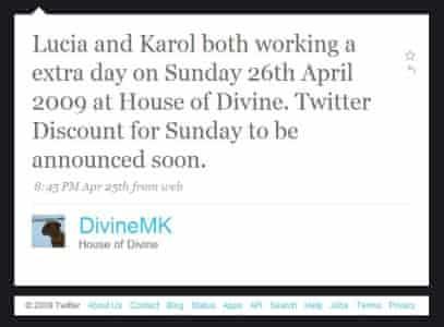 Twiiter message from DivineMK