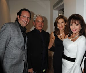Sunday Times rich listSimon Reuben and his wife pose with Percy Gibson and Joan Collins