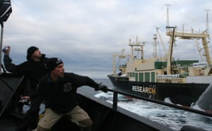 Sea Shepherd crew hurl objects at whaling ship