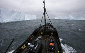 Steve Irwin navigates between two large tabletop icebergs in Antarctica