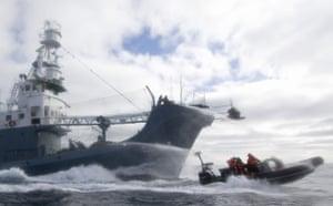 Sea Shepherd crew members are hosed by water cannons