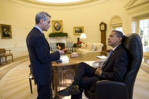 obama 100 days : President Barack Obama meeting with White House Chief of Staff Rahm Emanuel