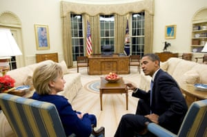 obama 100 days : Barack Obama with Secretary of State Hillary Clinton after she was sworn in