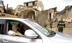 Pope Benedict XVI arrives in the quake destroyed village of Onna