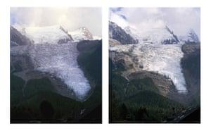 Glaciers under treat: Bossons glacier in the French Alps near Chamonix