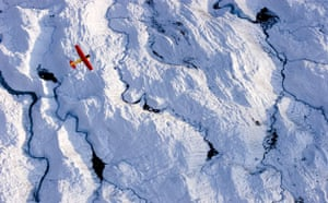 Glaciers under treat: Small Plane Flying Over Glacier