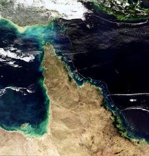 Satellite Eye: Great Barrier Reef in the Coral Sea , Queensland, Australia