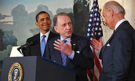 Senator Arlen Specter (c) with Joe Biden and Barack Obama at the White House.