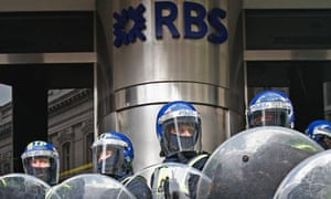 Police at RBS building