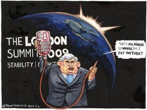 03.04.09: Steve Bell on Gordon Brown's cash stimulus initiative at G20 summit