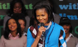 Michelle Obama speaks to pupils at Elizabeth Garrett Anderson Schoo