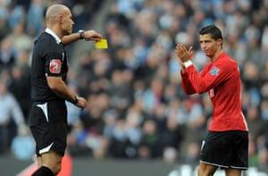 Cristiano Ronaldo: Ronaldo applauds the referee as he recieves a yellow card