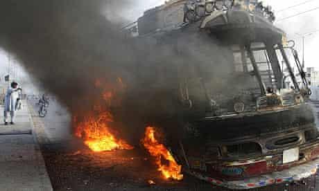 A vehicle burns in Karachi
