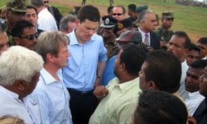 Kouchner and Miliband in Sri Lanka